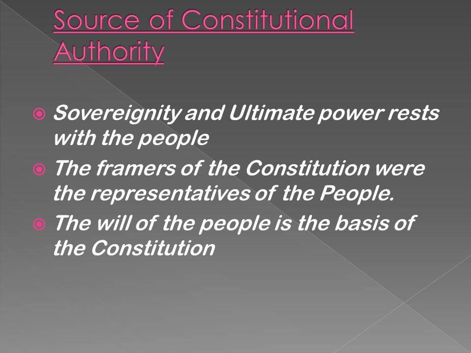  Source of Constitutional Authority  Nature of the State  Objectives of the Constitution