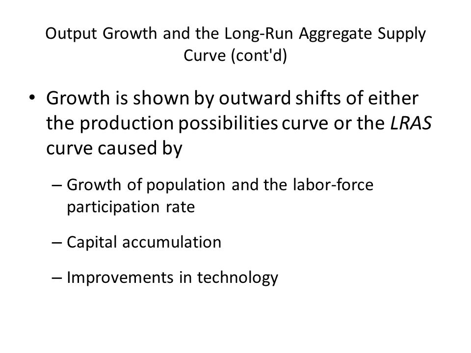 Output Growth and the Long-Run Aggregate Supply Curve (cont'd) Growth is shown by outward shifts of either the production possibilities curve or the L