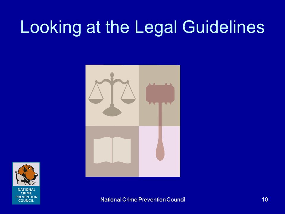 National Crime Prevention Council10 Looking at the Legal Guidelines