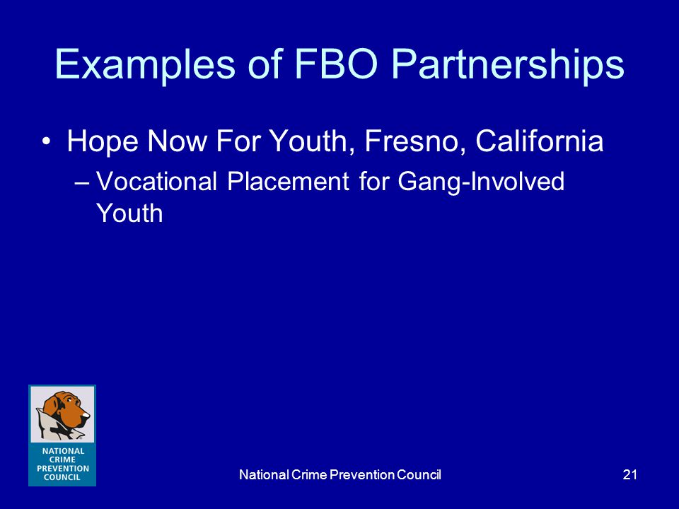 National Crime Prevention Council21 Examples of FBO Partnerships Hope Now For Youth, Fresno, California –Vocational Placement for Gang-Involved Youth