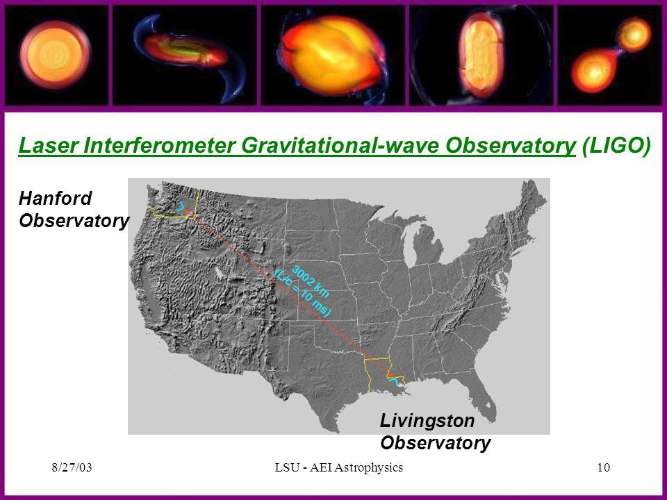 8/27/03LSU - AEI Astrophysics10 Hanford Observatory Livingston Observatory Laser Interferometer Gravitational-wave Observatory (LIGO)