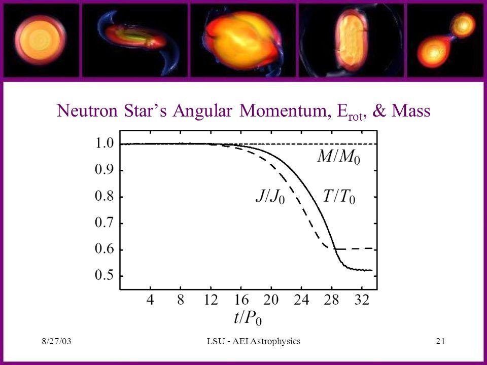 8/27/03LSU - AEI Astrophysics21 Neutron Star's Angular Momentum, E rot, & Mass