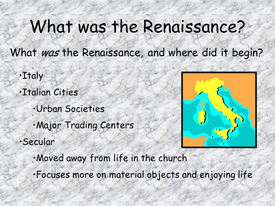 The Renaissance was a time of renewal Renaissance means rebirth and Europe was recovering from the Dark ages and the plague.