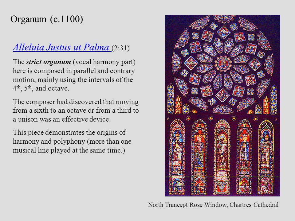 Alleluia Justus ut Palma Alleluia Justus ut Palma (2:31) The strict organum (vocal harmony part) here is composed in parallel and contrary motion, mai