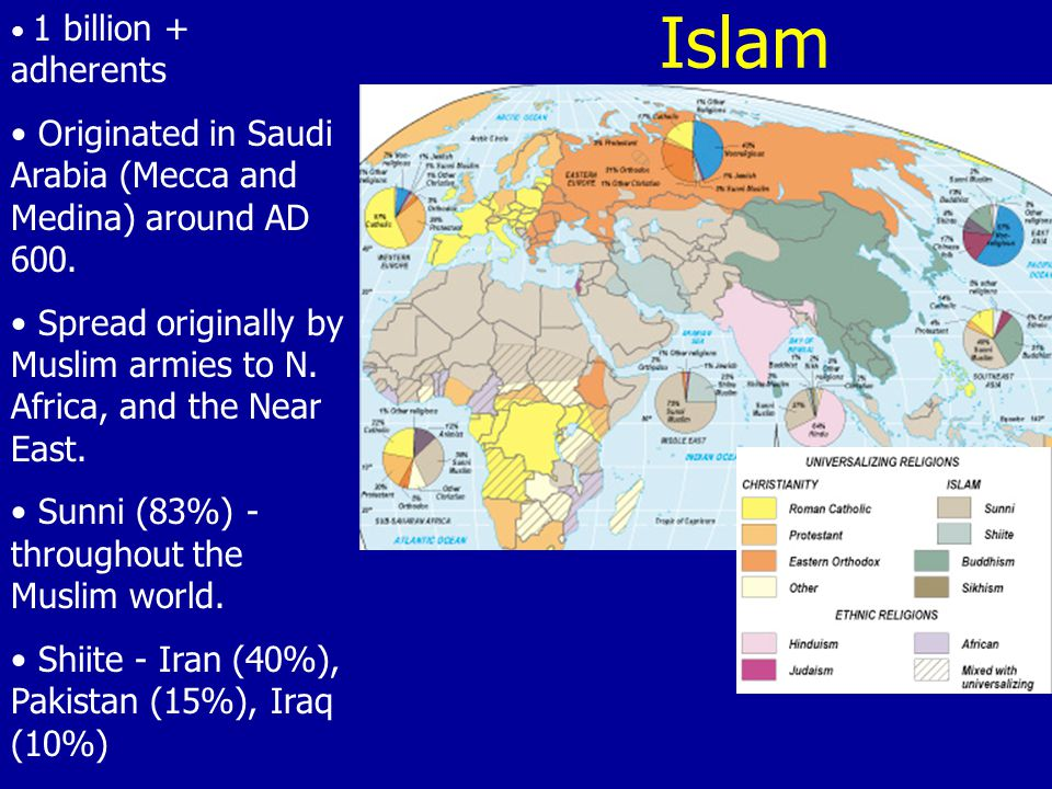 Islam 1 billion + adherents Originated in Saudi Arabia (Mecca and Medina) around AD 600. Spread originally by Muslim armies to N. Africa, and the Near