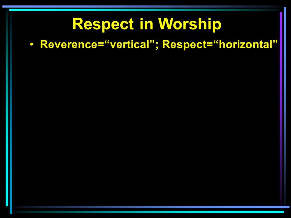 Reverence= vertical ; Respect= horizontal