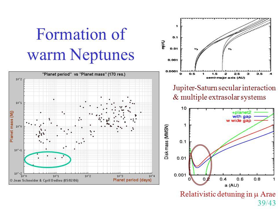 Formation of warm Neptunes Jupiter-Saturn secular interaction & multiple extrasolar systems Relativistic detuning in  Arae 39/43