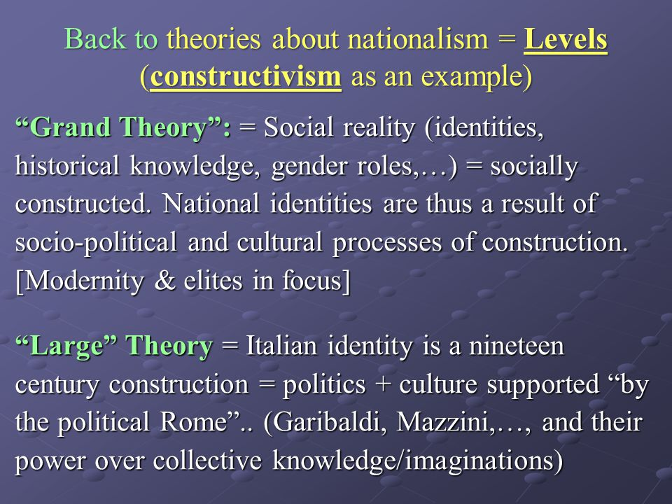"Back to theories about nationalism = Levels (constructivism as an example) ""Grand Theory"": = Social reality (identities, historical knowledge, gender"