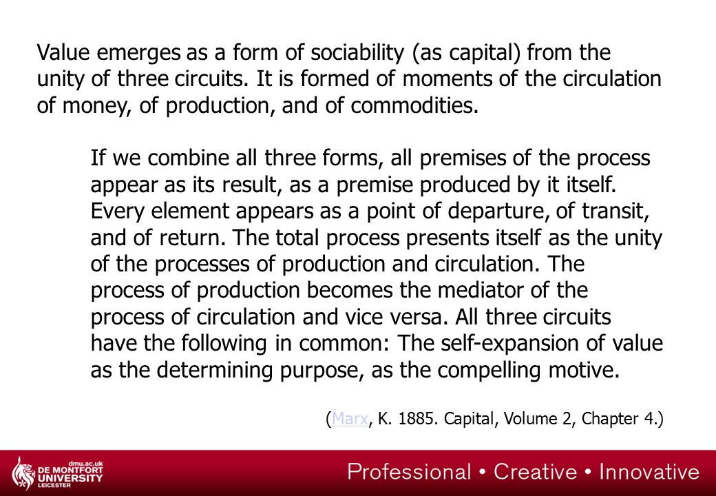 Value emerges as a form of sociability (as capital) from the unity of three circuits.