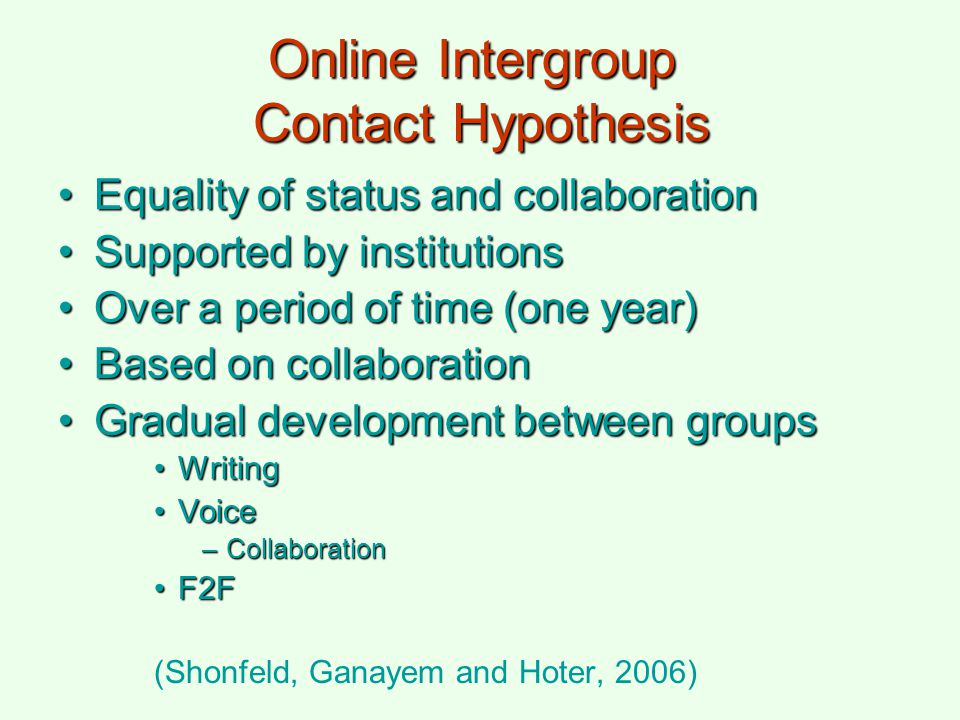 Online Intergroup Contact Hypothesis Equality of status and collaborationEquality of status and collaboration Supported by institutionsSupported by in