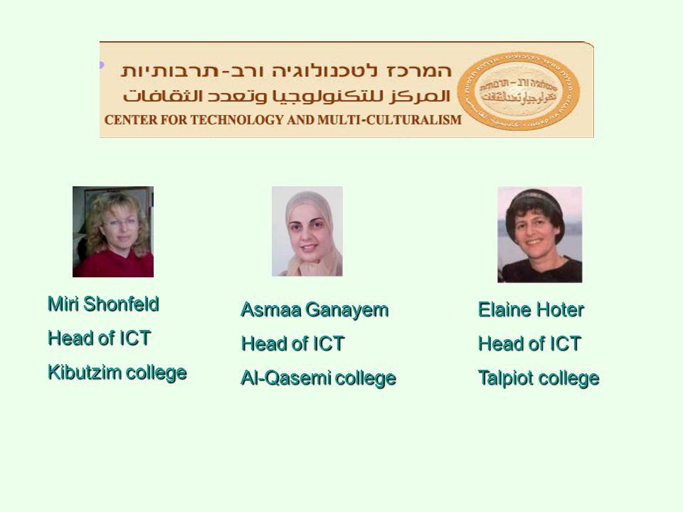 Miri Shonfeld Head of ICT Kibutzim college Asmaa Ganayem Head of ICT Al-Qasemi college Elaine Hoter Head of ICT Talpiot college