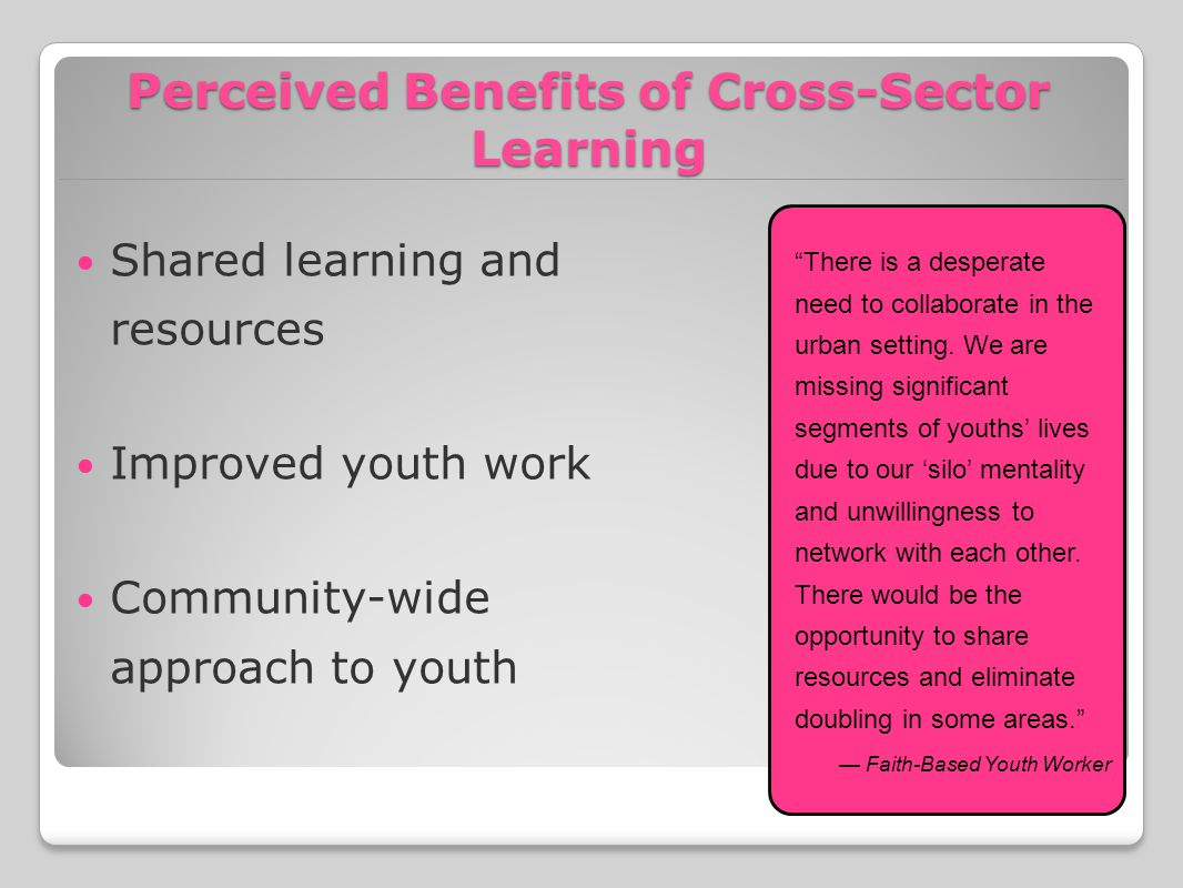 Perceived Benefits of Cross-Sector Learning Shared learning and resources Improved youth work Community-wide approach to youth There is a desperate need to collaborate in the urban setting.