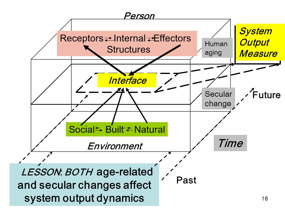 16 Environment Person Social Built Natural Receptors Internal Effectors Structures Interface Future Past Time Human aging Secular change System Output