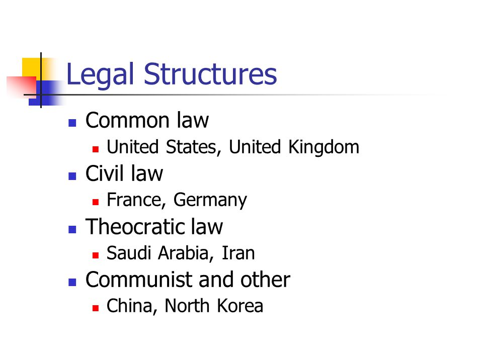 Legal Structures Common law United States, United Kingdom Civil law France, Germany Theocratic law Saudi Arabia, Iran Communist and other China, North