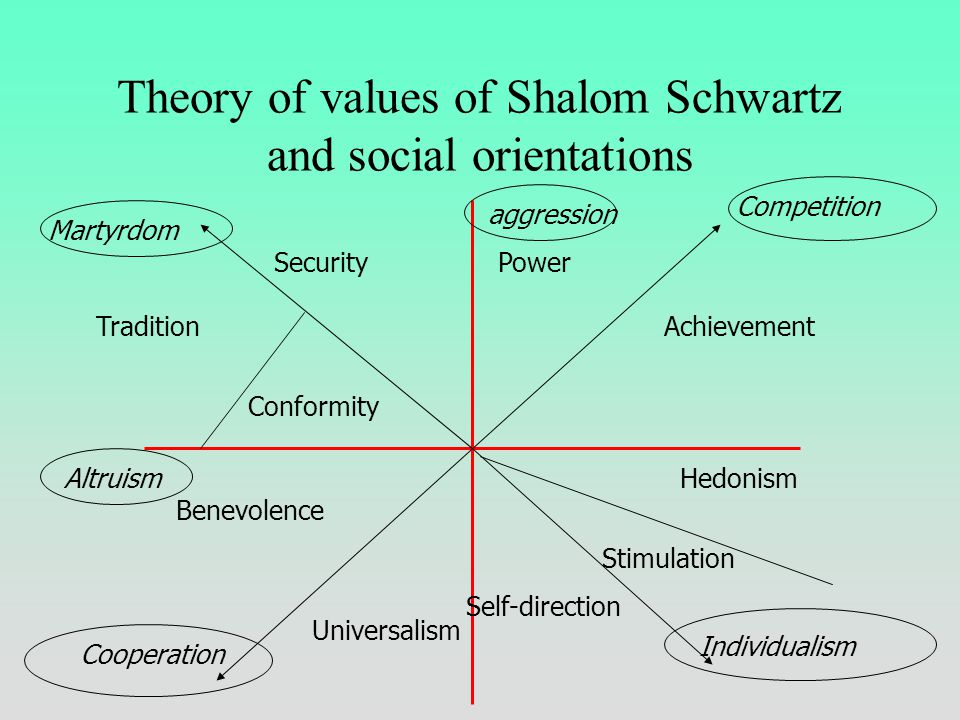 Social values according to McClintock (1988) individualismmasochism Aggression sadomasochism altruism Cooperation competition martyrdom 1 2 3 4 5-5 -4