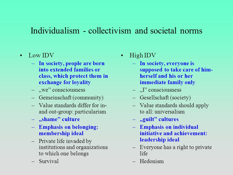 Individualism vs. collectvism Individualism – societies in which relations between individuals are loose, concern for oneself and closest family Colle