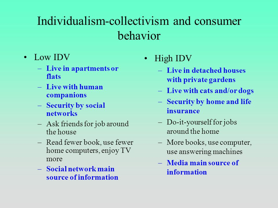 Individualism-collectivism at school Low IDV –Teachers deal with pupils as a group –Pupils' individual initiatives discouraged –Harmony, face and sham