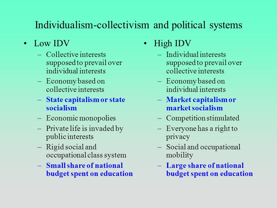 Individualism-collectivism and consumer behavior Low IDV –Live in apartments or flats –Live with human companions –Security by social networks –Ask fr