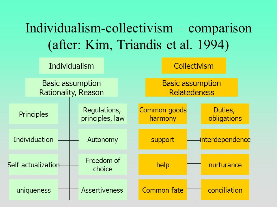Individualism-collectivism It is a free country and everybody can do what one wants High IDV: Emphasis on individual initiative