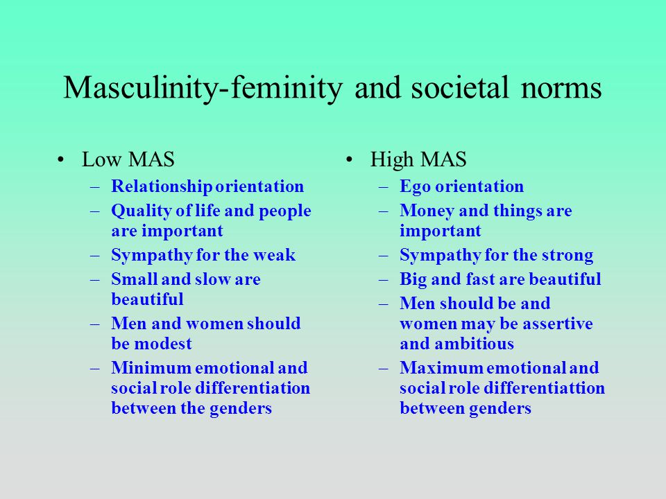 Masculinity-feminity Low MAS –Cooperation at work important –Values of women and man hardly different –Promotion by merit –Work not central in a perso