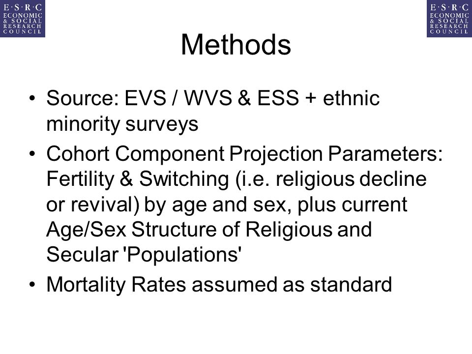 Methods Source: EVS / WVS & ESS + ethnic minority surveys Cohort Component Projection Parameters: Fertility & Switching (i.e. religious decline or rev