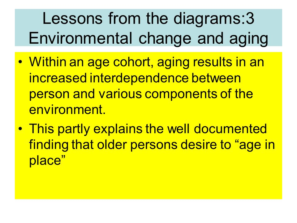 Lessons from the diagrams:3 Environmental change and aging Within an age cohort, aging results in an increased interdependence between person and various components of the environment.
