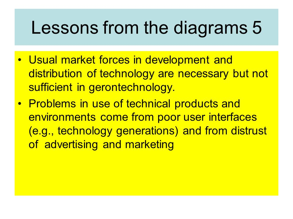 Lessons from the diagrams 5 Usual market forces in development and distribution of technology are necessary but not sufficient in gerontechnology.
