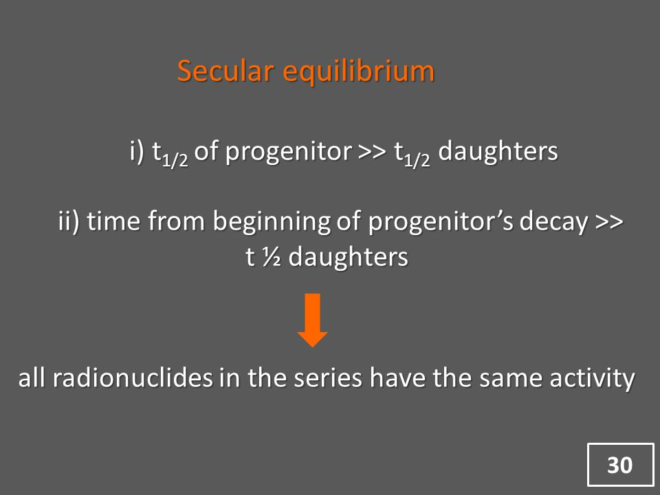 i) t 1/2 of progenitor >> t 1/2 daughters ii) time from beginning of progenitor's decay >> t ½ daughters ii) time from beginning of progenitor's decay >> t ½ daughters all radionuclides in the series have the same activity Secular equilibrium 30