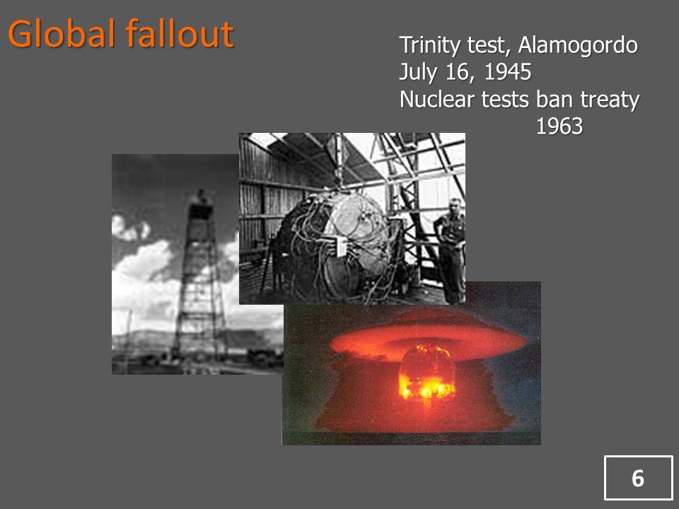 Global fallout Trinity test, Alamogordo July 16, 1945 Nuclear tests ban treaty 1963 6
