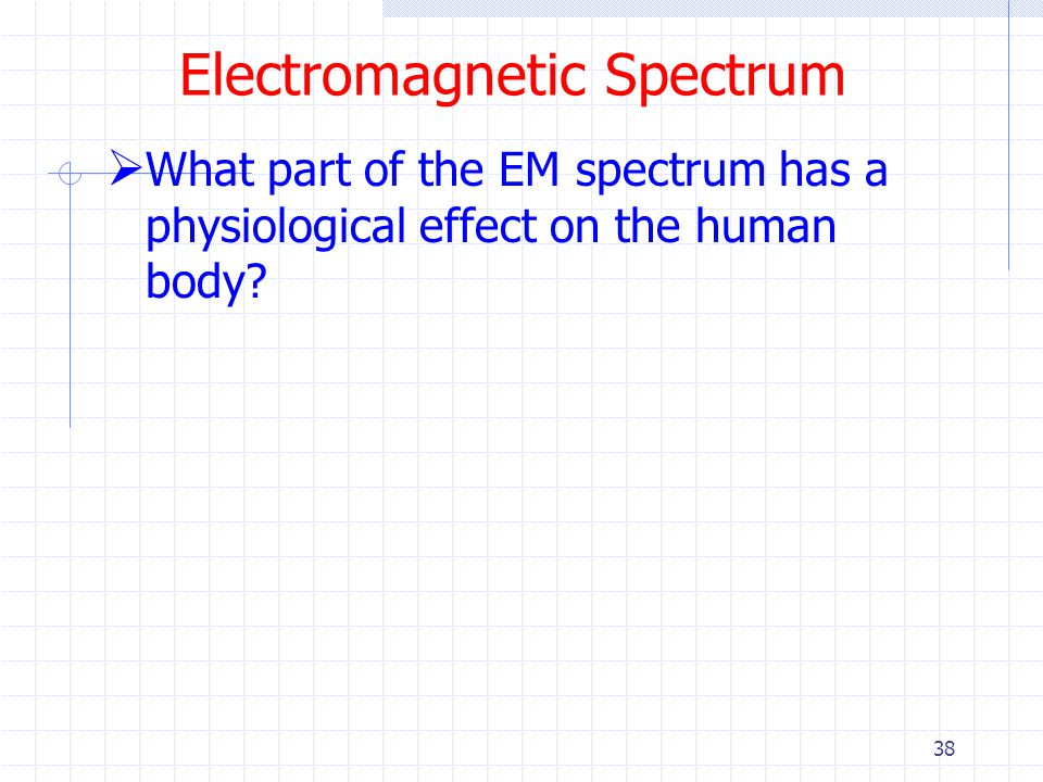 38 Electromagnetic Spectrum  What part of the EM spectrum has a physiological effect on the human body?