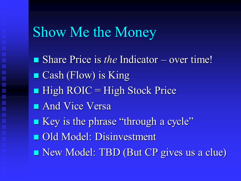 Show Me the Money Share Price is the Indicator – over time.