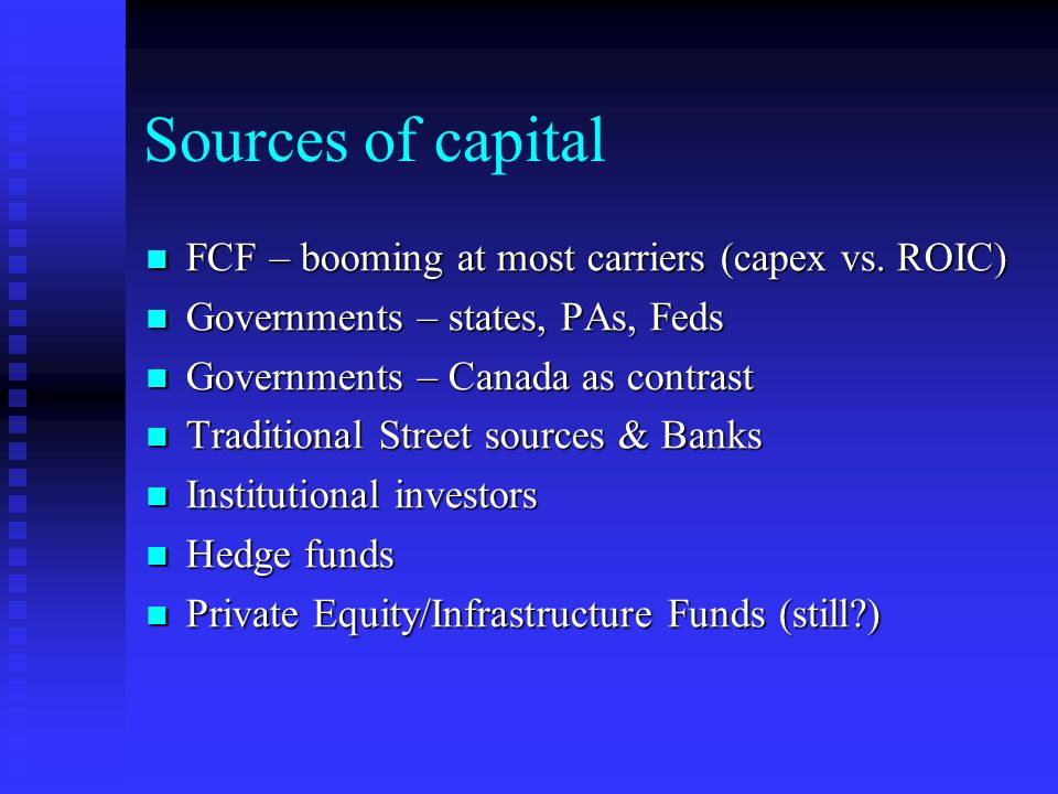 Sources of capital FCF – booming at most carriers (capex vs.