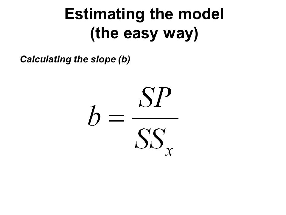 Estimating the model (the easy way) Calculating the slope (b)