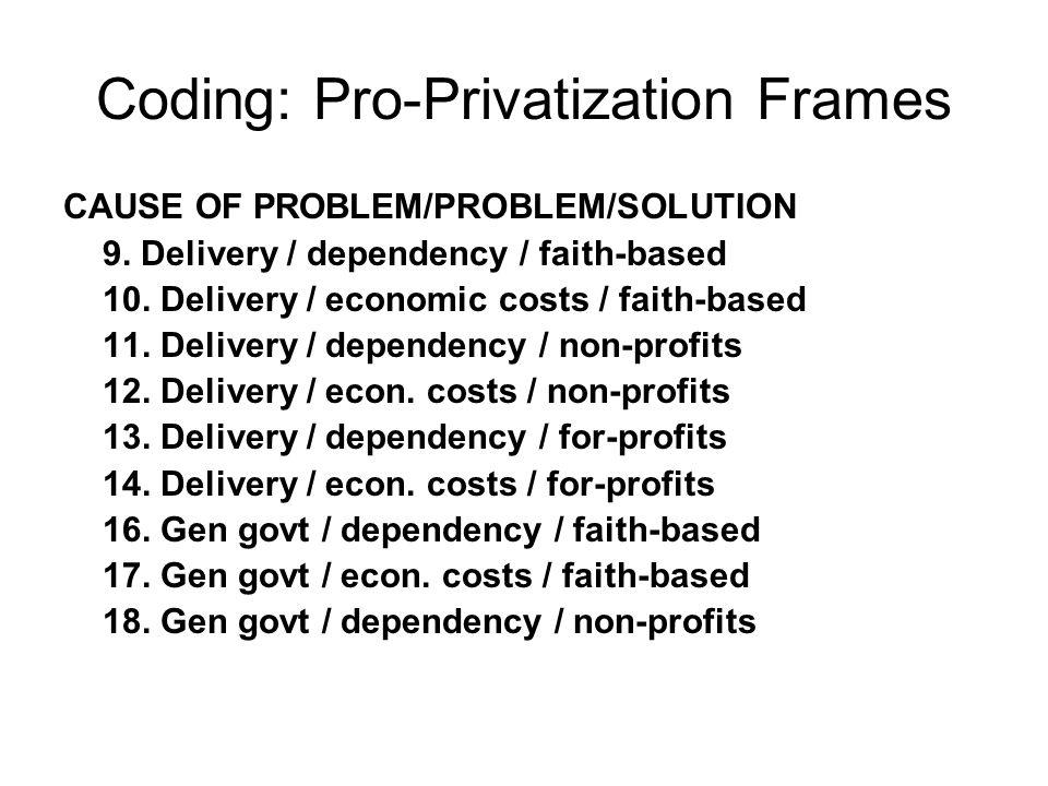 Coding: Pro-Privatization Frames CAUSE OF PROBLEM/PROBLEM/SOLUTION 9.