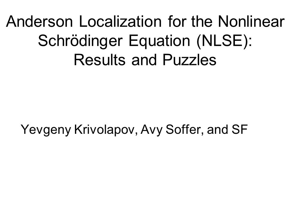 The Nonlinear Schroedinger (NLS) Equation random Anderson Model 1D lattice version 1D continuum version