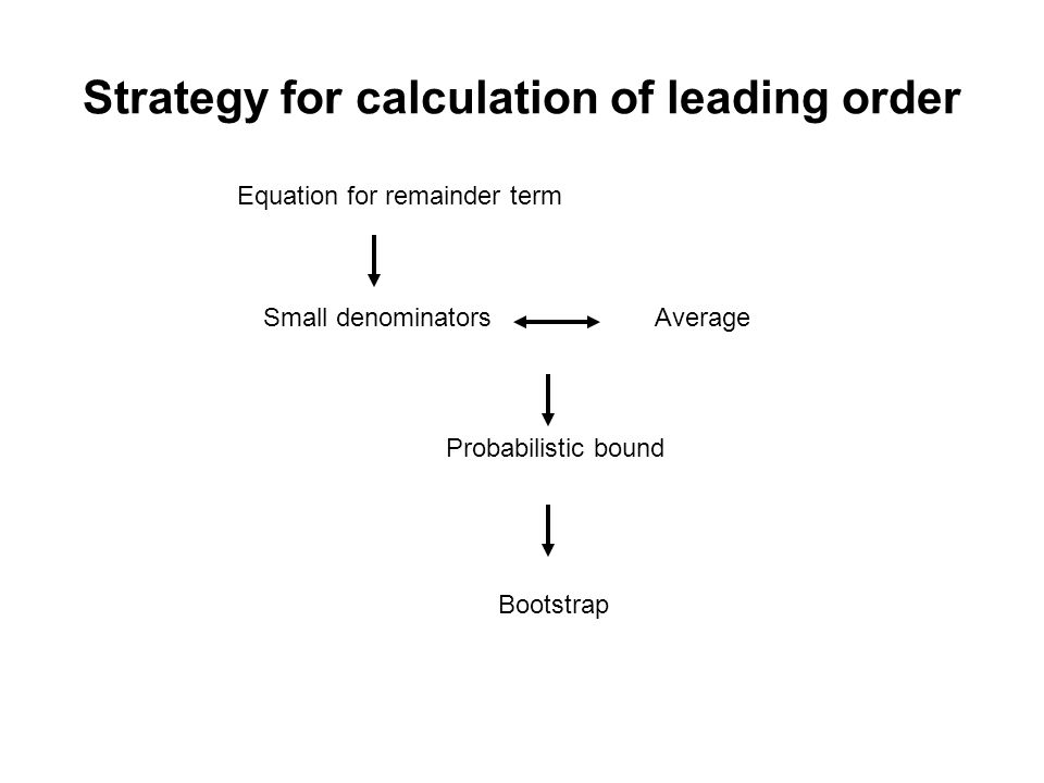Strategy for calculation of leading order Equation for remainder term AverageSmall denominators Probabilistic bound Bootstrap