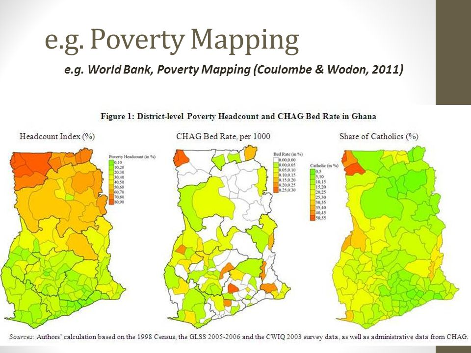 e.g. Poverty Mapping e.g. World Bank, Poverty Mapping (Coulombe & Wodon, 2011)