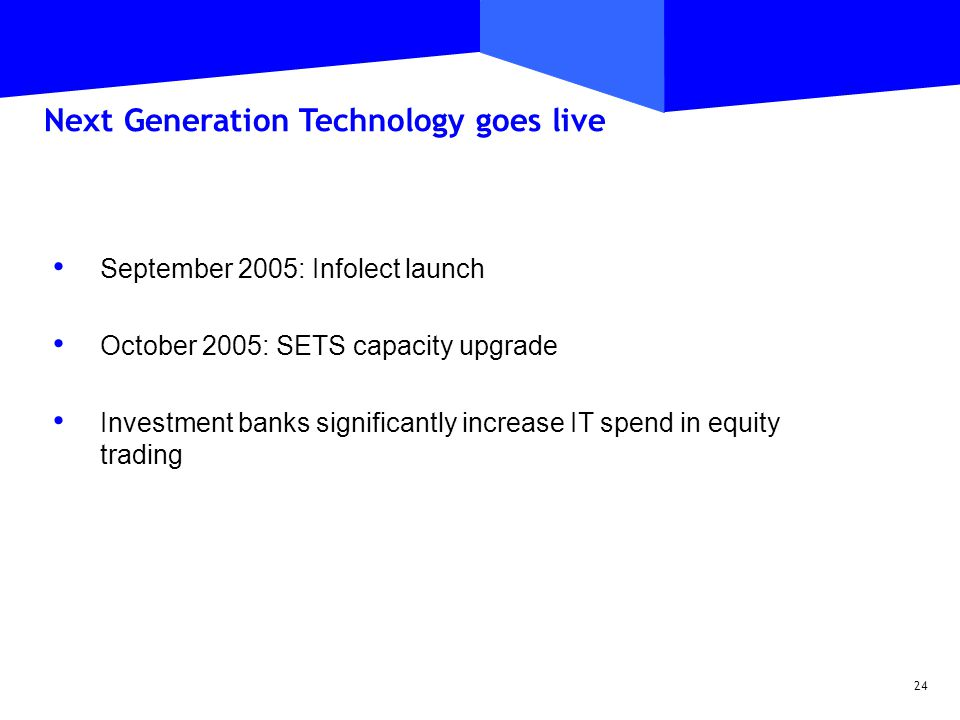 24 September 2005: Infolect launch October 2005: SETS capacity upgrade Investment banks significantly increase IT spend in equity trading Next Generation Technology goes live