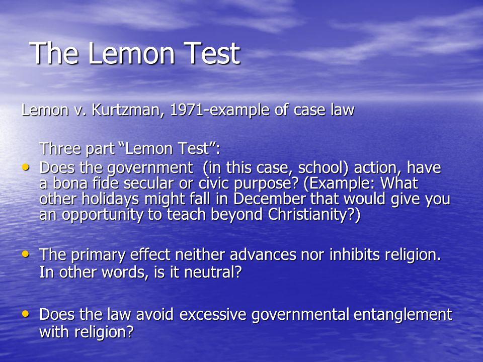 The Lemon Test Lemon v.
