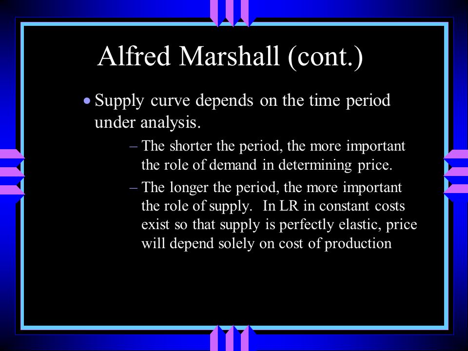 Alfred Marshall (cont.)  Supply curve depends on the time period under analysis.