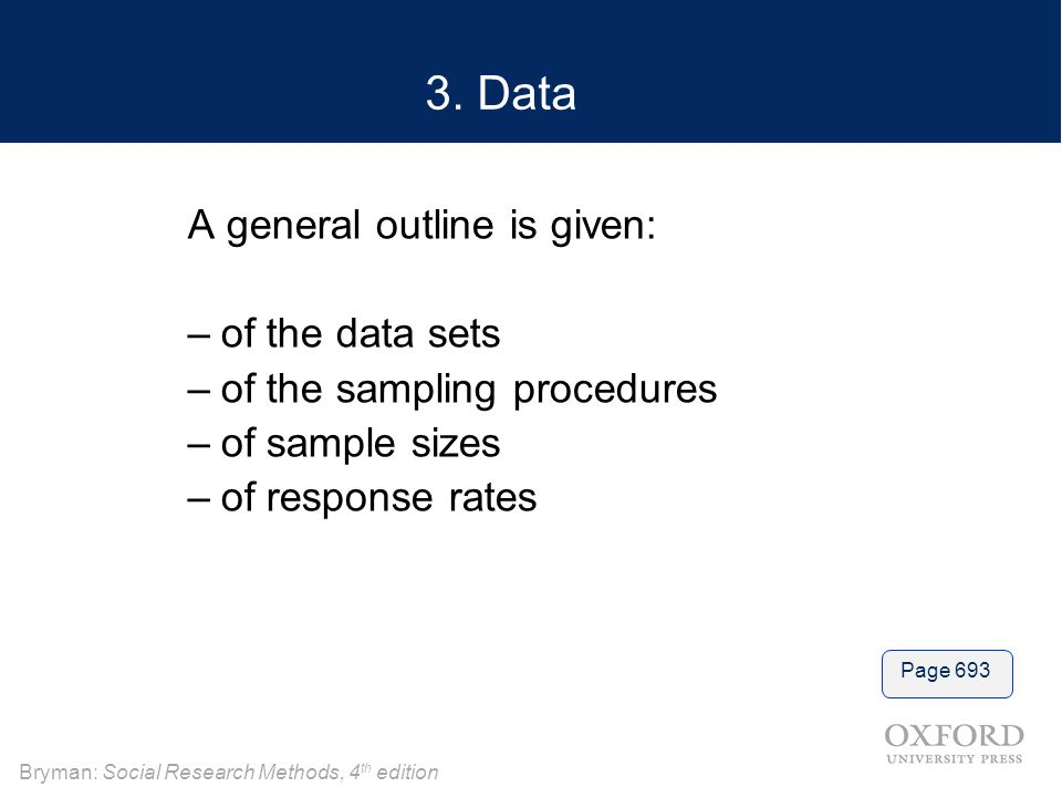 Bryman: Social Research Methods, 4 th edition 3. Data A general outline is given: –of the data sets –of the sampling procedures –of sample sizes –of r