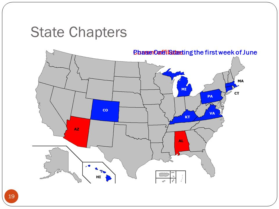 State Chapters Current affiliatesPhase One: Starting the first week of June 19