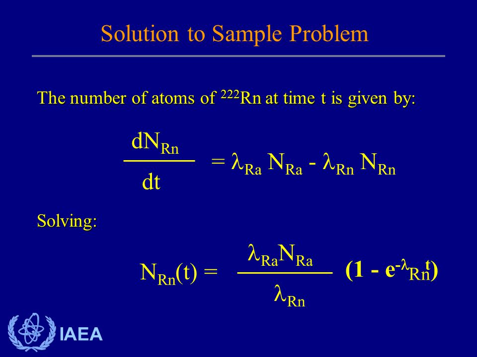 IAEA The number of atoms of 222 Rn at time t is given by: Solution to Sample Problem = Ra N Ra - Rn N Rn dN Rn dt Solving: N Rn (t) = (1 - e - t ) Rn Ra N Ra Rn