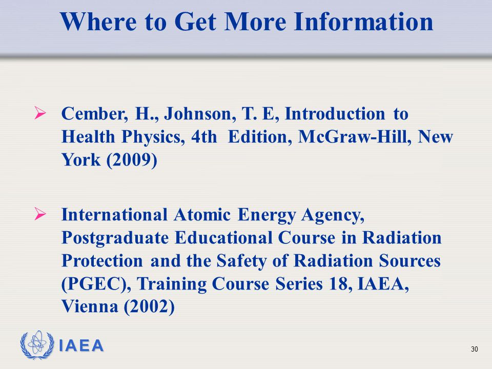 IAEA Where to Get More Information  Cember, H., Johnson, T.
