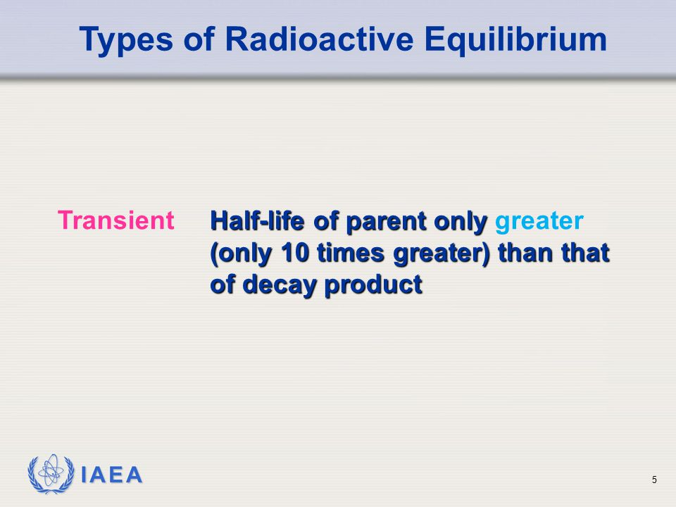IAEA Types of Radioactive Equilibrium Half-life of parent only (only 10 times greater) than that of decay product TransientHalf-life of parent only greater (only 10 times greater) than that of decay product 5
