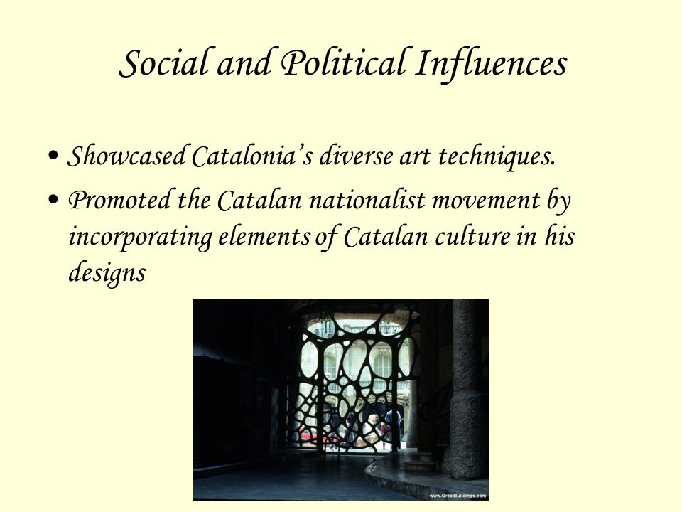 Social and Political Influences Showcased Catalonia's diverse art techniques. Promoted the Catalan nationalist movement by incorporating elements of C