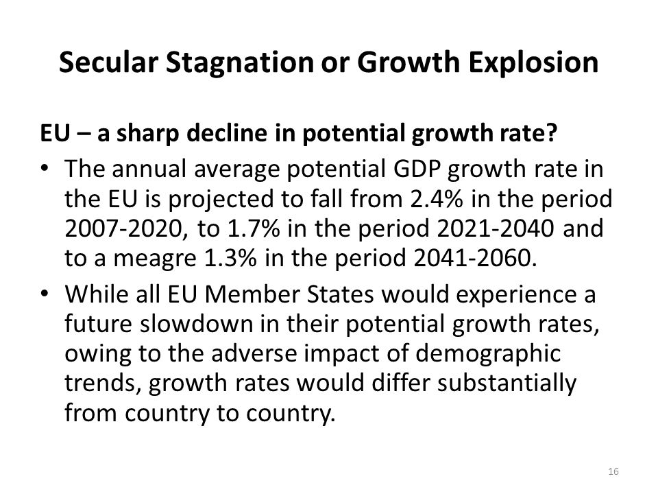 Secular Stagnation or Growth Explosion EU – a sharp decline in potential growth rate.