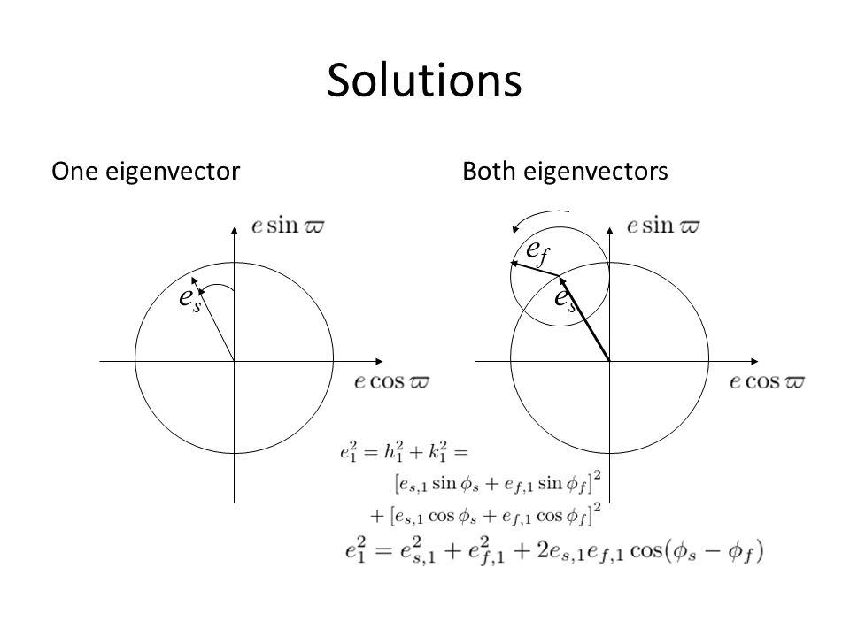 Solutions One eigenvector eses eses efef Both eigenvectors