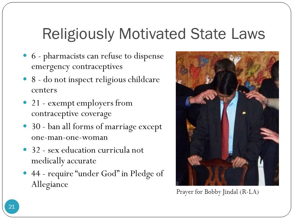 Religiously Motivated State Laws 6 - pharmacists can refuse to dispense emergency contraceptives 8 - do not inspect religious childcare centers 21 - exempt employers from contraceptive coverage 30 - ban all forms of marriage except one-man-one-woman 32 - sex education curricula not medically accurate 44 - require under God in Pledge of Allegiance 21 Prayer for Bobby Jindal (R-LA)