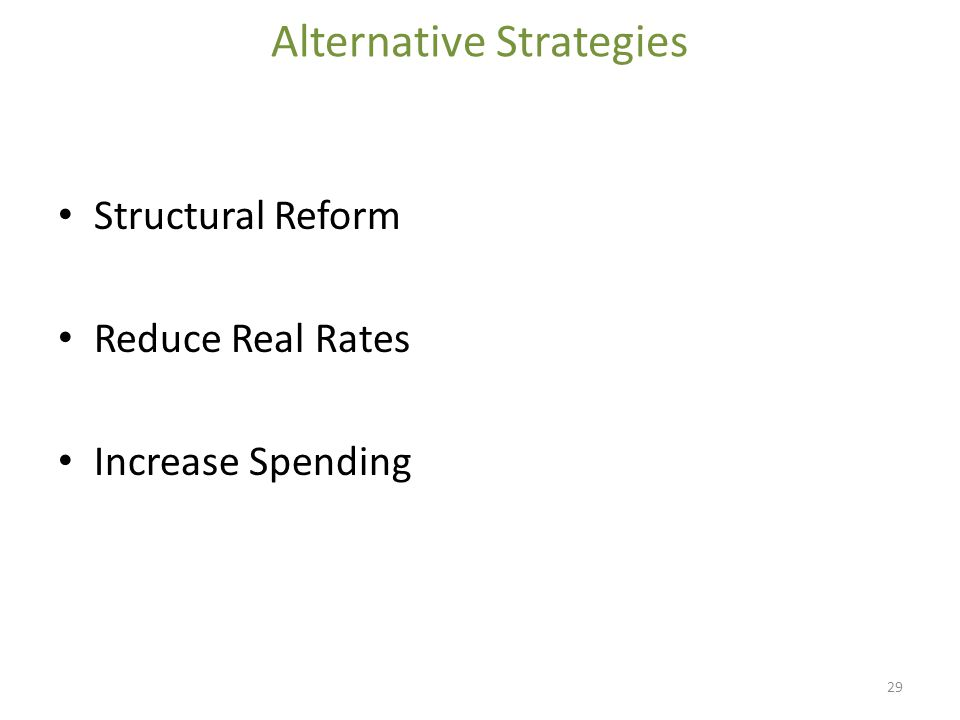 Alternative Strategies Structural Reform Reduce Real Rates Increase Spending 29